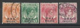 MALACCA ( MALAYA ) , Administration Militaire Britannique , Lot De 4 Timbres , Neuf & Oblitérés . De 1945 , Voir Scan - Malacca
