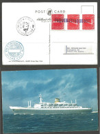 1966 Pointe A Piyre Guadeloupe Paquebot Marking On Statendam Ship Postcard, Netherlands Stamps (8-2) - West Indies