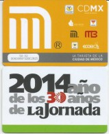 MEXICO - METRO - RECHARGEABLE CARD - LA JORNADA - Wochen- U. Monatsausweise