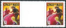 U.S. 1998. Scott #3203. CINCO DE MAYO (Gutter Pair) &  Lateinamerikanisches Cinco-de-Mayo-Fest. Minze, MNH (**) - Errors, Freaks & Oddities (EFOs)