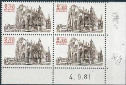 France -1981 - Coin Daté 4/9/81 -2 F.20 Brun Et Carmin - Notre-Dame De Louviers -Y&T N°2161 ** Neuf Luxe 1er Choix - 1980-1989