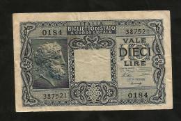 ITALIA - 10 LIRE GIOVE (Decr. 23/11/1944 - Firme: Ventura/Simoneschi/Giovinco) - LUOGOTENENZA - [ 1] …-1946 : Kingdom
