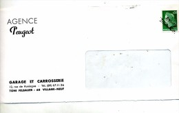 Devant De Lettre Cachet Annulation Huningue Entete Agence Peugeot - Postmark Collection (Covers)