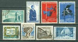 Italie 1958 Yv 756/58, 760, 764, 775, 776/77 ( 8 Val.) Used - 6. 1946-.. Repubblica