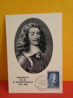 FDC- Carte Maxi, François VI Duc De LLa Rochefoucauld 1613/1680 - Paris - 13.2.1965 - 1er Jour, Coté 2 € - Cartes-Maximum