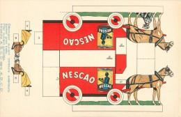 PUBLICITE  DECOUPAGE : NESCAO. NESTLE. BELLE VOITURE ATTELEE . - Advertising