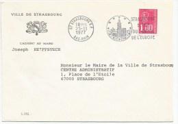 B596 - Ville De STRASBOURG - 1977 - Flamme Strasbourg - Entête Mairie - - Alsace-Lorraine