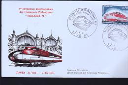 PHILAFER 1974 TOURS CONGRES DES CHEMINOTS TGV - Trains