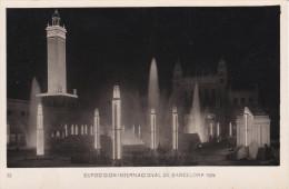 España--Barcelona--1929--Plaza Del Universo- ( Nocturna )--Exposicion Internacional De Barcelona- - Exposiciones