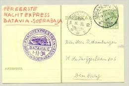 Nederlands Indië - 1936 - 1e Nachtexprestrein Batavia-Soerabaja Op NL Briefkaart - Nederlands-Indië