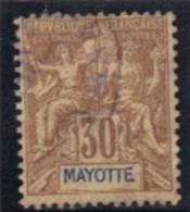 MAYOTTE 1892-99 Y&T OBL 9 Aminci Coin Gauche Superieur - Non Classificati