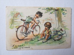 Illustrateur Germaine Bouret T'es Crevé Non J'ai Crevé Sport Vélo Bicyclette Enfant - Bouret, Germaine