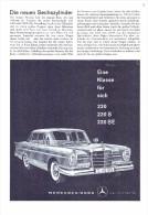 Original Werbung / Reklame - 1959 - Mercedes 220 SE , Der Neue Sechszylinder , Daimler-Benz , A4 Seite  !!! - KFZ