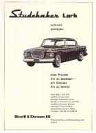 Original Werbung / Reklame - 1959 - Studebaker Lark , Binelle & Ehrsam AG In Zürich ,  A4 Seite  !!! - Voitures