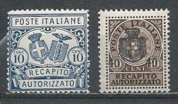 Italy-Italia. Scott # EY 1-2 MLH. Authorized Delivery Stamp. 1928-30 - 1900-44 Vittorio Emanuele III