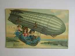 Cp/pk Enfants Zeppelin Bonne Année Eeckeren 1910 Gold Fleurs - Nouvel An
