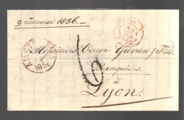 PAYS BAS Marque Postale Taxée De 1856 De Amsterdam Pour Lyon - ...-1852 Voorlopers