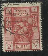 LIBIA 1924 SIBILLA LIBICA DENT. PERF. 14 LIRE 2 USATO USED OBLITERE´ - Libya