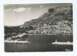 CPA CPSM Monaco Vue Aérienne Du Port, La Ville A Droite La Tete De Chien 1957 2 Phares Phare - Harbor