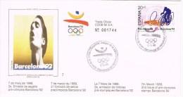 12145. Carta BARCELONA 1989. Barcelona 92 Olimpiadas, Preolimpico. Ciclismo. PERE DURAN - 1931-Hoy: 2ª República - ... Juan Carlos I