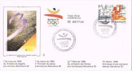 12147. Carta BARCELONA 1989. Barcelona 92 Olimpiadas, Preolimpico. Balonnmano, Handboll - 1931-Hoy: 2ª República - ... Juan Carlos I