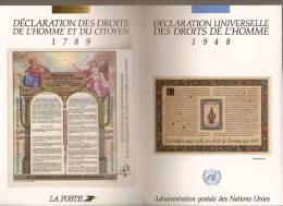 France, Bloc Feuillet N° 11, BF 11, ONU, Bloc Feuillet N° 5, Neuf **, Pochette Commune Déclaration Des Droits De L'Homme - Blocs & Feuillets
