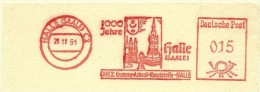 Nice Cut Meter 1000 Jahre Halle (Saale) 28/11/1961 Gumme Kunststoffe Asbest - Kerken En Kathedralen