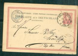 Entier Allemand Oblitéré Cöln A. Rhein En 1882 Pour Nouailles De L'oise ( France )  - Aoa0702 - Allemagne