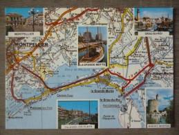 CARTE GÉOGRAPHIQUE (34).  LOT DE 2 CPM.MONTPELLIER ET SES ENVIRONS. ANNEES 1980 - Maps