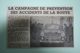 Coupure De Presse 1962 Automobile PEUGEOT 403 Gendarmerie Riom - Historische Documenten