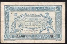 FRANCE TRESORERIE AUX ARMEES 50 CENTIMES 1919  W   FINE - Treasury
