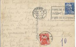 CARTE POSTALE AVEC CACHET MECANIQUE FOIRE DE ST ETIENNE 24 SEPT-3OCT 1949 - Sellados Mecánicos (Publicitario)