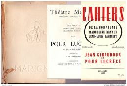 "1953 Théâtre MARIGNY "" Pour Lucrèce"" - Edwige FEUILLERE, Jean DESAILLY, Madeleine RENAUD, Jean SERVAIS, Simone VALERE... - Programs"