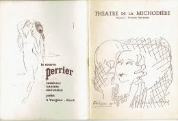 """1959 Programme Théâtre De La Michodière """"Gog Et Magog Avec François PERIER, Jacqueline MAILLAN, Roger CAREL - Programs"""