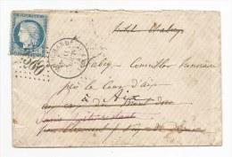 - Lettre - JURA - MOUCHARD -GC.2580 S/TP Type Cérès N°60+ Càd T.16 - 1874-Plucieurs Réexpéditions - 1862 Napoleon III