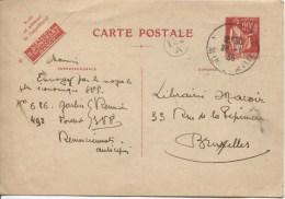 France Entier 90c Rouge C.Nancy 1936 V.Bruxelles C.facteur 132A PR1913 - Entiers Postaux