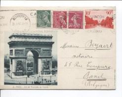 France Entier CP 90c Arc Triomphe +TP C.Besancon En 1940 V.Gand Belgique PR1914 - Entiers Postaux