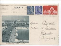 France Entier CP 90c Concorde+TP C.Besancon En 1940 V.Gand Belgique PR1915 - Entiers Postaux