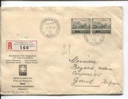 Suisse-Switzerland Lettre Recommandée C.GeneraldirektionPTT Bern 1946 V.Gand Belgique PR1925 - Suisse