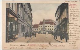 AK AUTRICHE AUSTRIA BADEN BEI WIEN Hauptplatz Mit Café Français Timbre Stamp 1901 - Baden Bei Wien