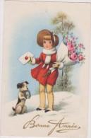 Carte Ancienne 1942 ,bonne Année,chien,chienne,dog,fille,enfant,neige épaisse,lettre Avec Cire,fer à Cheval - Chiens