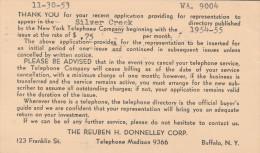1953 Buffalo USA POSTAL STATIONERY Card Re  SILVER CREEK TELEPHONE DIRECTORY  Slogan Pmk  TB FUND Health Cover  Stamps - Telecom