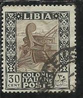 LIBIA 1924 - 1929  PITTORICA SENZA FILIGRANA UNWATERMARK CENT. 30 C USATO USED OBLITERE´ - Libya