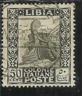 LIBIA 1924 - 1929  PITTORICA SENZA FILIGRANA UNWATERMARK CENT. 50 C USATO USED OBLITERE´ - Libia