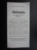 DéPLIANTS TOURISTIQUES (M1505) SUISSE INTERLAKEN (2 Vues) Liste Officielle Des Hôtels Et Pensions 1954 - Dépliants Touristiques