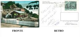 CARTOLINA PALOMBARA SABINA FUNIVIA DI MONTE GENNARO  TARGHETTA IX GIORNATA MONDIALE DELLE TELECOMUNICAZIONI VIAGGIATA 77 - Italia