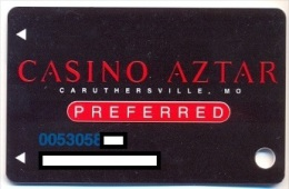 Aztar Casino, Caruthersville, MO, U.S.A., older used slot or player�s card,  aztar-7