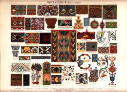Ca1890 ORNAMENTS II MEDIEVAL Antique Chromolithograph Print - Old Paper