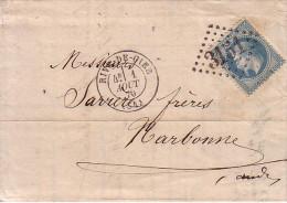 LOIRE - RIVE DE GIER - 1-8-1870 - EMPIRE N°29 OBLITERATION GC3151 - ENTETE BANQUE FAYARD - 1849-1876: Classic Period