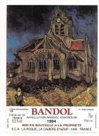 Etiquette BANDOL 1994 - Série  Van Gogh  : L´Eglise D´Auvers S/Oise 1890 -- - Arte